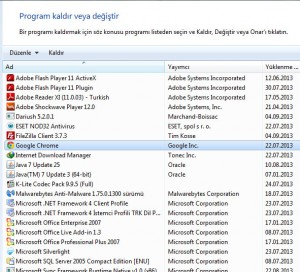 Google Chrome Kaldır