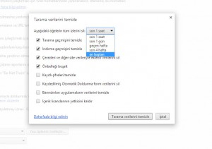 Google Chrome Geçmişi Temizleme