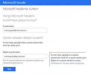Hotmail Hesap Kurtarma