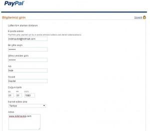 PayPal Kayıt Formu