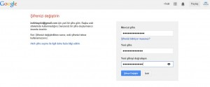 Google Şifre Değiştirme Ekranı