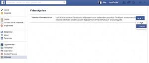 Facebook Video Oynatmayı Kapatma