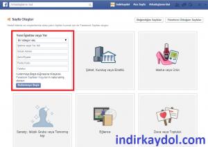 Facebook Sayfa Oluşturma