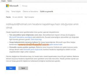 MSN Hesabı Silme