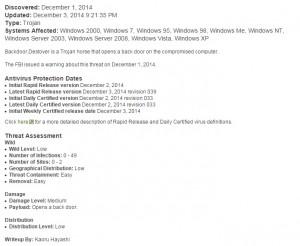 Backdoor.Destover Teknik Özellikleri Kaynak:Symantec