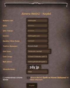 Almera Metin 2 Kaydol
