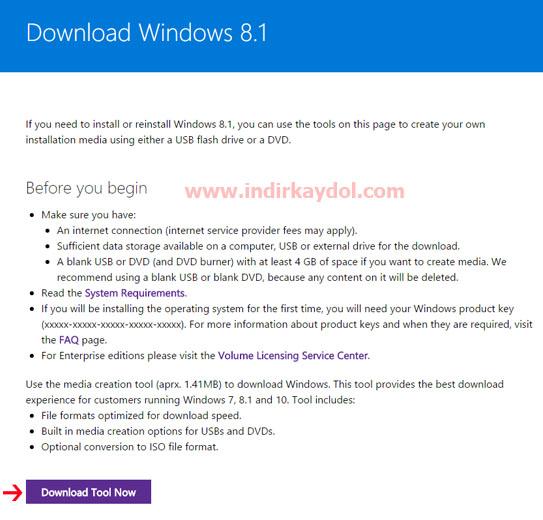 Windows 8.1 Aracı İndir