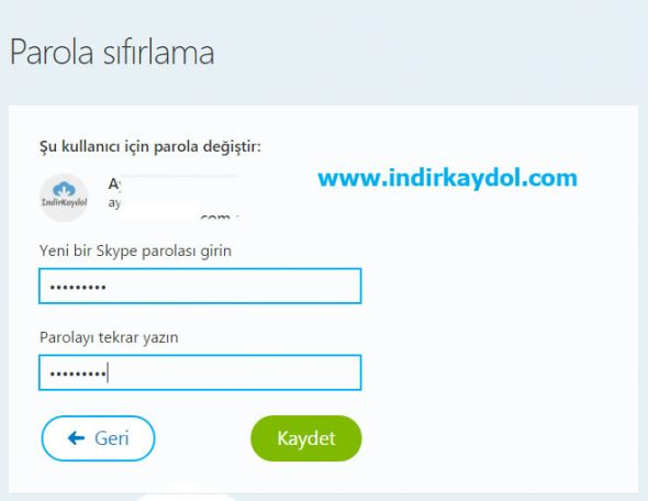 Skype Şifre Sıfırlama