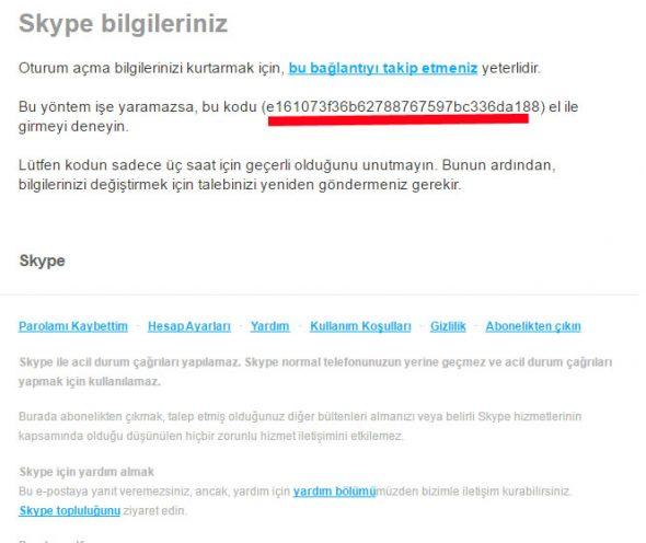 Skype Şifre Sıfırlama E-postası