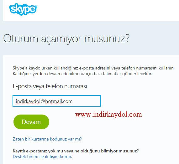 Skype Şifremi Unuttum