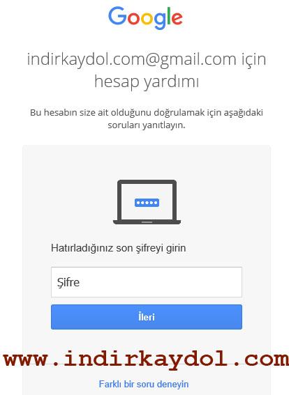 Çalınan Gmail Hesabını Geri Alma
