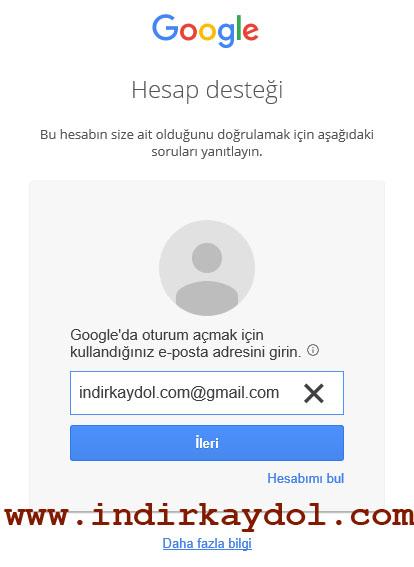 Gmail Hesap Kurtarma Sayfası