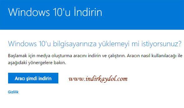 Windows 10 DVD veya USB Oluşturma İndirme