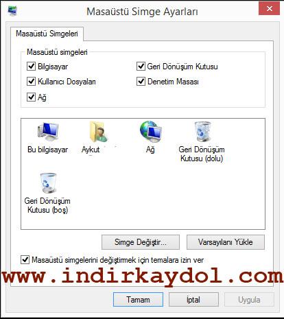 Windows 8 Masaüstü Simgeleri